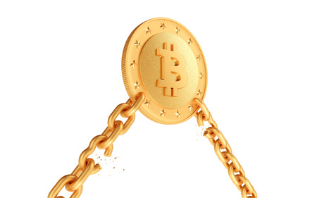 Golden coin bitcoin with broken chains. White isolated background. 3d render