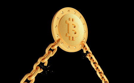 Golden coin bitcoin with broken chains. Dark isolated background. 3d render