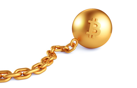 Bitcoin with a gold chain. On isolated white background. 3d render