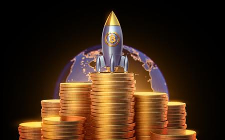 Bitcoin raketlanser, cryptocurrency concept. De groei van de gouden munt voor ontwerpers en breaking news. Gouden stuk waardering in de vorm. 3D render Stockfoto - 84568330