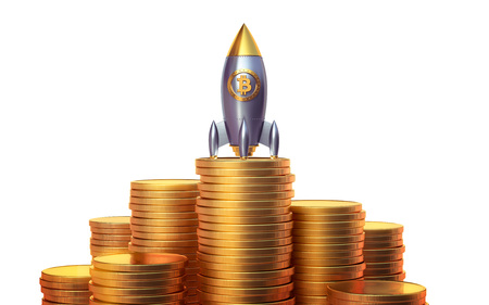 technology transaction: Bitcoin rocket launcher, cryptocurrency concept. The growth rate of the gold coin for designers and breaking news. Gold piece appreciation in the form. 3d render Stock Photo