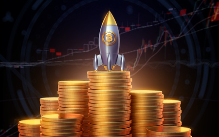 Bitcoin rocket launcher, cryptocurrency concept. The growth rate of the gold coin for designers and breaking news. Gold piece appreciation in the form. 3d render 免版税图像