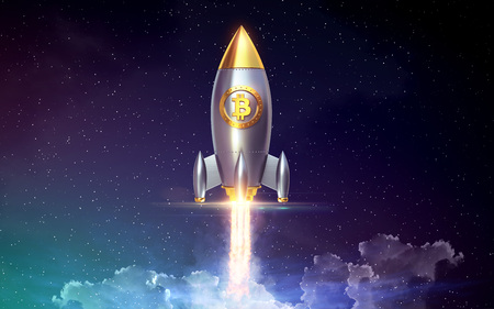 Bitcoin rocket launcher, cryptocurrency concept. The growth rate of the gold coin for designers and breaking news. Gold piece appreciation in the form. 3d render Imagens
