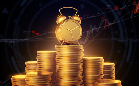 Alarm clock with golden coins. A mountain of gold coins on the background of stock quotes. 3d render