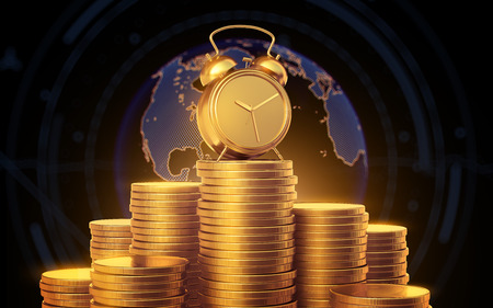 Alarm clock with golden coins. Mountain of gold coins on the background of the globe. 3d render