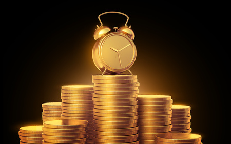 Alarm clock with golden coins .3d render. Isolated black background Standard-Bild