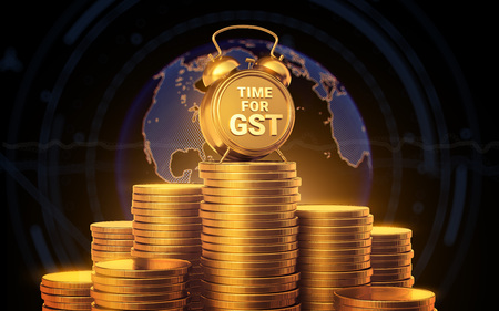 TIME FOR GST The concept of financing the season. Gold analog clock, standing on a year of coins on a dark background.