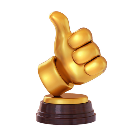 Gold like symbol Trophy on white background. Cartoon thumb up. isolated. 3d render Foto de archivo