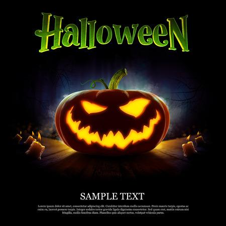 Happy Halloween-ontwerpaffiche met pompoen 2018. Griezelig bos met dode bomen en pompoenen. Kwaad, gloeiende glimlach gesneden op een pompoen op een donkere achtergrond. In afwachting van de vakantie. 3d render Stockfoto - 85107394