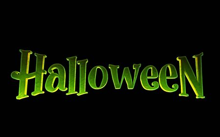 Green logo Halloween on a black background. 3d render Standard-Bild