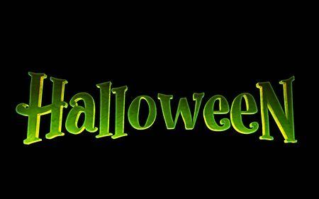 Green logo Halloween on a black background. 3d render 免版税图像