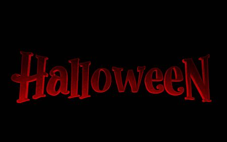 Red logo Halloween on a black background. 3d render Standard-Bild