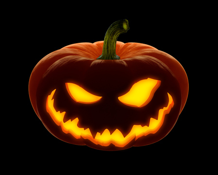 Scary Happy halloween pumpkin. Evil, glowing smile carved on a pumpkin on a dark isolated background. in anticipation of the holiday of Halloween 2018. 3d render 免版税图像 - 85012852