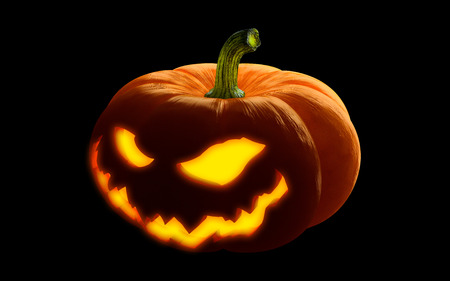 Scary Happy halloween pumpkin. Evil, glowing smile carved on a pumpkin on a dark isolated background. in anticipation of the holiday of Halloween 2018. 3d render