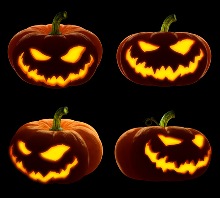 Scary Happy Halloween set pumpkin. Evil, glowing smile carved on a pumpkin on a dark isolated background. in anticipation of the holiday of Halloween 2018. 3d render