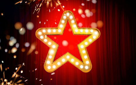 Winner. Retro light sign. Gold stars on red curtain background with sparks. Vintage style banner. 3d illustration 스톡 콘텐츠