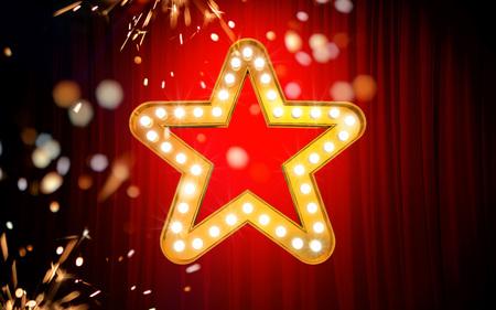 Winnaar. Retro licht bord. Gouden sterren op rode gordijnachtergrond met vonken. Vintage stijlbanner. 3D illustratie