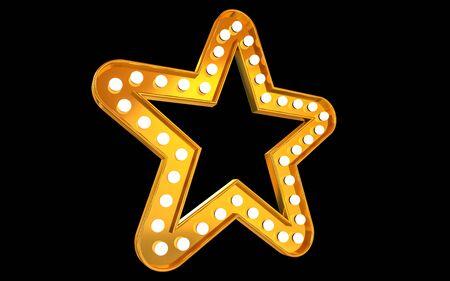 Winner. Retro light sign. Gold stars on black background. Vintage style banner. 3d illustration