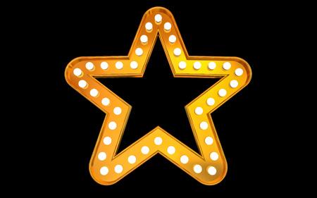 Winnaar. Retro licht bord. Gouden sterren op zwarte achtergrond. Vintage stijlbanner. 3D illustratie Stockfoto - 90463203