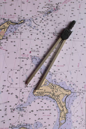 Nautical map with a bow compass