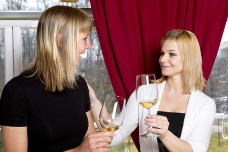 Beautiful young girls having drink in bar holding glasses Stock Photo