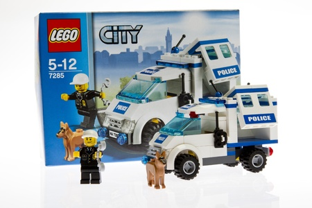 Lego construction toy isolated on white studio shot Editorial