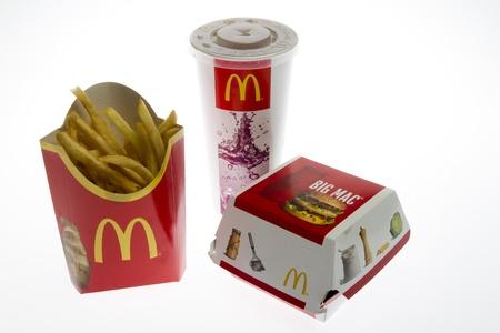 McDonalds Big Mac Menu isolated on white studio shot