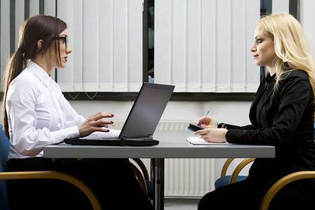Job interview in the office studio shot Stock Photo
