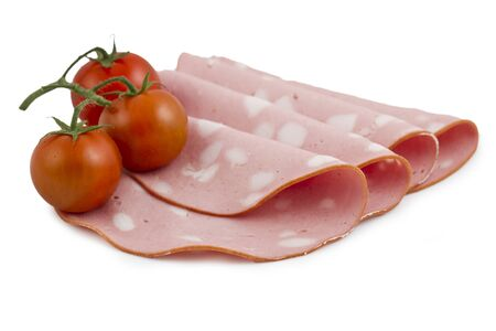 Italian sausage mortadella isolated on white background