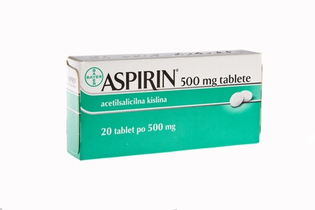 Aspiron 500mg tablets isolated on white studio shot