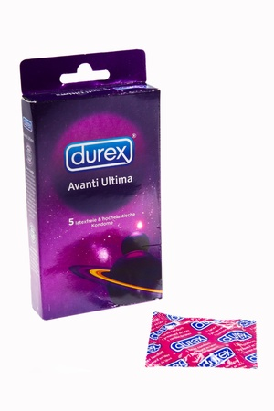 Durex Condoms isolated on white studio shot
