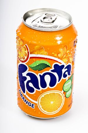 Fanta orange drink studio shot on table top Editorial