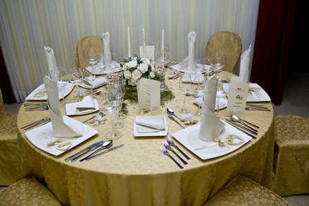 Wedding table prepared for dinner celebration festive