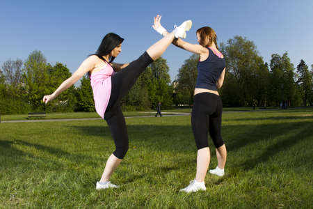Karate fight between young girls in the park photo