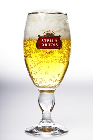 Stella Artois beer in glass stusio shot