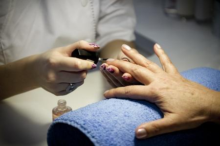 Nail care design at beauty salon studio  Stock Photo