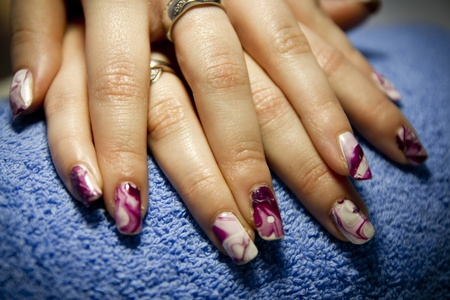 Nail care design at beauty salon studio  Stock Photo