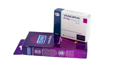 Viagra 25mg pills with box of Durex condoms