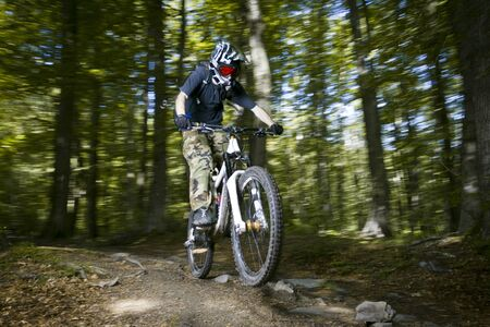 Downhill mountain bikers in nature