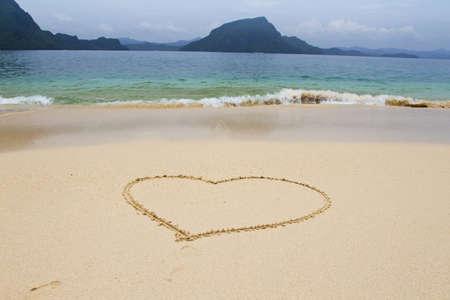 heart in sand: Beach on Philippines Palawan Island