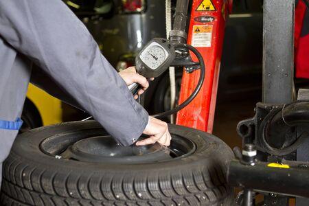 Car Tyre Pressure at the car shop Editorial