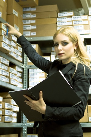Business Woman doing inventory photo