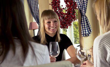 Girl in a restaurant having dinner