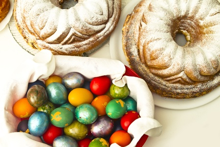 Easter Feast with eggs, ham and cake potica Stock Photo