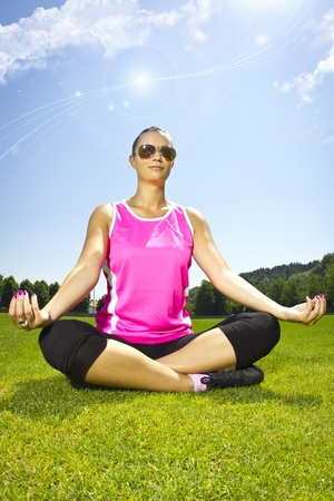 Yoga meditation on the grass Stock Photo - 12508883