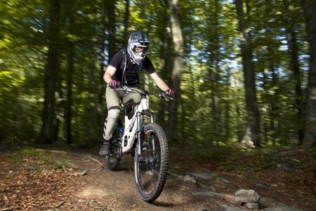 Downhill biker in the forrest