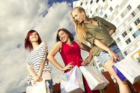 Girls went shopping with shopping bags
