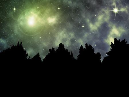 Surreal Night Sky - Abstract Illustration Stok Fotoğraf