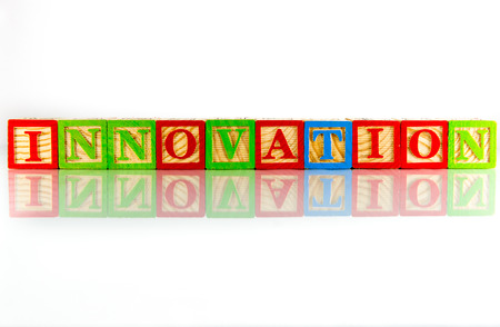 innovation word: The innovation word reflection on white background Stock Photo