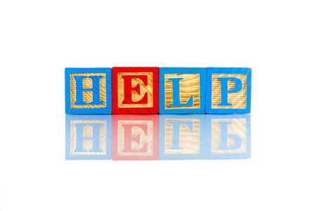 pleading: Help word reflection on white background Stock Photo